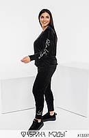 Ніжний жіночний костюм двійка з велюру, декорований вишивкою з 46 по 60 розмір, фото 3