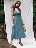 Расклешенное платье-миди без рукавов  в горошек   ЛЕТО, фото 7