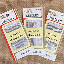 Иглы швейные с золотым ушком Regal 3/9, 16 шт.