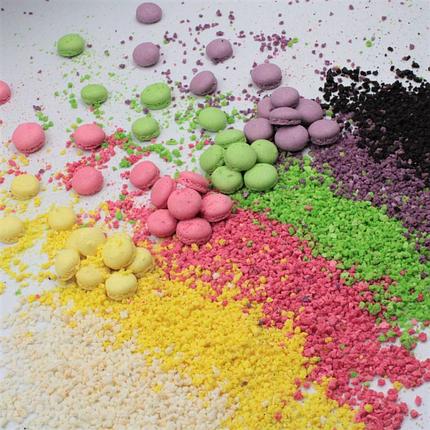 Макаронс напівфабрикат крапля половинки жовте, зелене. рожеве, фото 2