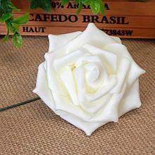 Роза из фоамирана на проволоке 7,5 см, молочная