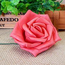 Роза из фоамирана на проволоке 7,5 см, красная