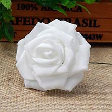 Роза из фоамирана на проволочке 5 см, белая