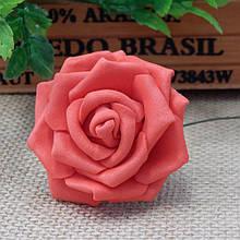 Роза из фоамирана на проволочке 5 см, розовая