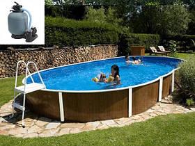 Овальный сборной бассейн Azuro Wood Vario 404 DL 5.5х3.7 м, глубина 1.2 м, песочная фильтрационная станция