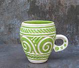 Горнятко керамічне різьблене біло-зелене, фото 3