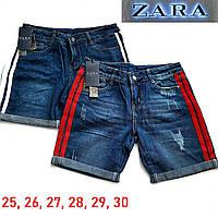 Женские джинсовые шорты синие, с лампасами, Zara, летние, с подворотом