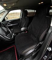 Универсальные защитные авточехлы из Алькантары Эко-замша Накидки чехлы на сидения автомобиля Черные 2 шт