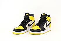 Жіночі кросівки Air Jordan 1 Mid Yellow Toe Black 852542-071, фото 2