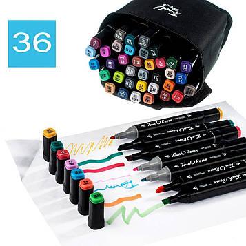 Набір маркерів для малювання Touch Raven (36 шт./уп. чорний корп.) скетч-маркери, фломастери за номерами (SV)