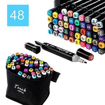 Набір маркерів для малювання Touch Raven (48 шт/уп. чорний корп.) скетч-маркери, фломастери за номерами (SV)