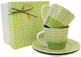 Фарфорова чашка з блюдцем зелена 18,35 см Maestro MR10009-05/06