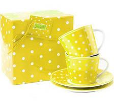 Фарфорова чашка з блюдцем зелена в горошок 2 шт. Maestro MR10032-05/06