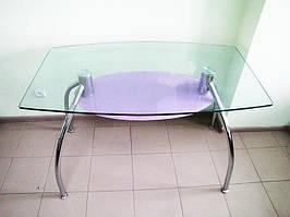 Стіл скляний з чорною полицею D313 120*70