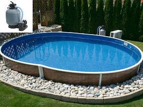 Овальный сборной бассейн Azuro Wood Vario 405 DL 7.3х3.7 м, глубина 1.2 м, песочная фильтрационная станция