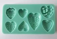 Молд кондитерский силиконовый Сердечки 12,5*7 см VT6-16886