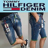 Мужские джинсовые шорты с подворотами Tommy Hilfiger, летние бриджи, чиносы, джинсы, бермуды