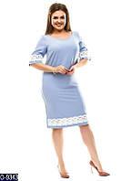 Романтичне пряме однотонне плаття з костюмного крепу з мереживом Розмір: 48, 50, 52, 54 арт. 7684
