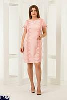 Романтичне пряме однотонне плаття з костюмного крепу з мереживом та камінням р: 50, 52, 54, 56 арт. 3041