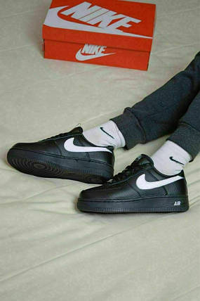 Nike Air Force black с мехом ❄, фото 2