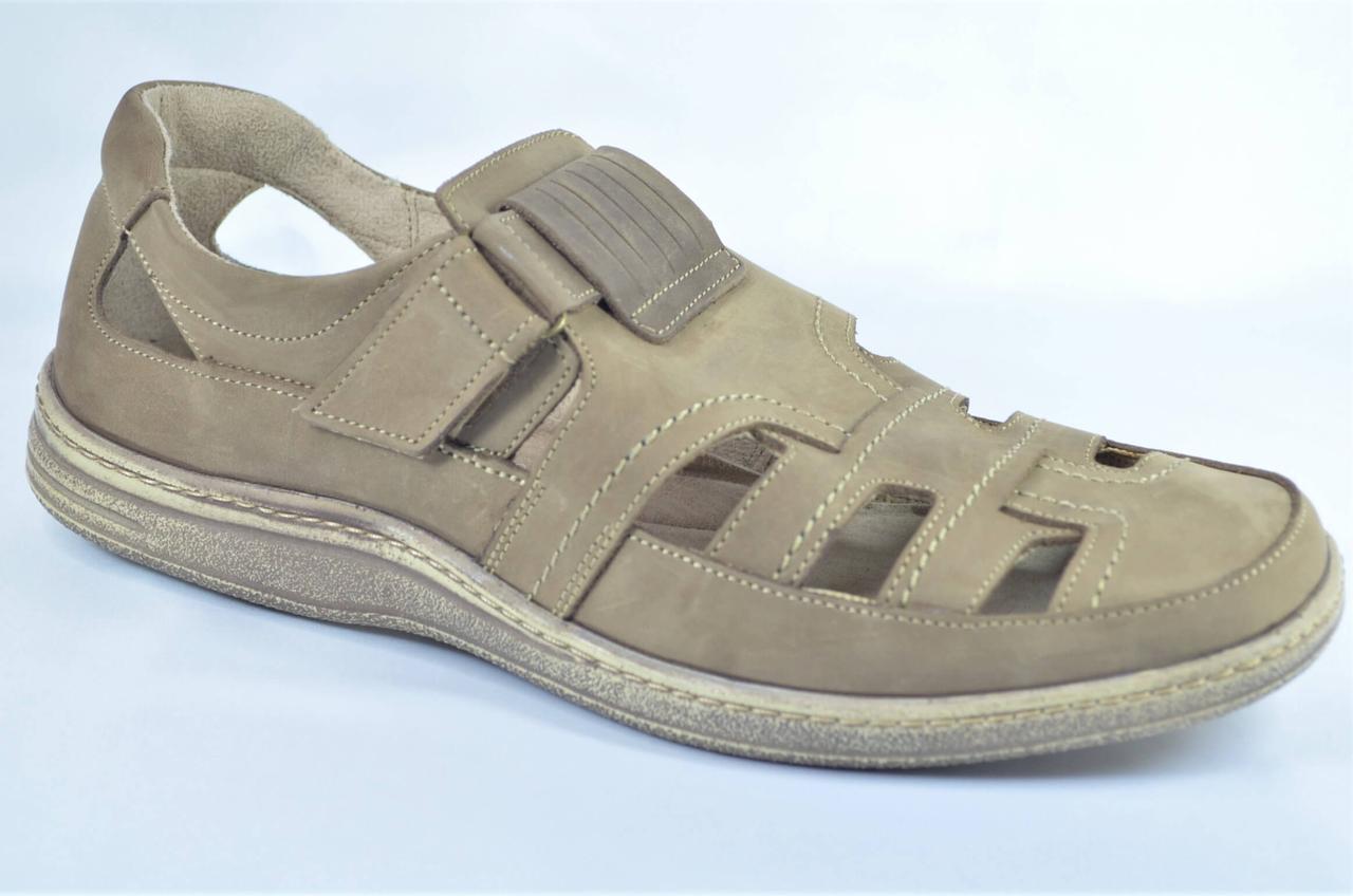 Мужские летние комфортные кожаные туфли оливковые Bastion 030