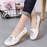 Туфлі мокасини жіночі білі натуральна шкіра Т1327, фото 2