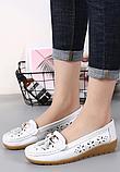 Туфлі мокасини жіночі білі натуральна шкіра Т1327, фото 3