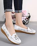 Туфлі мокасини жіночі білі натуральна шкіра Т1327, фото 4