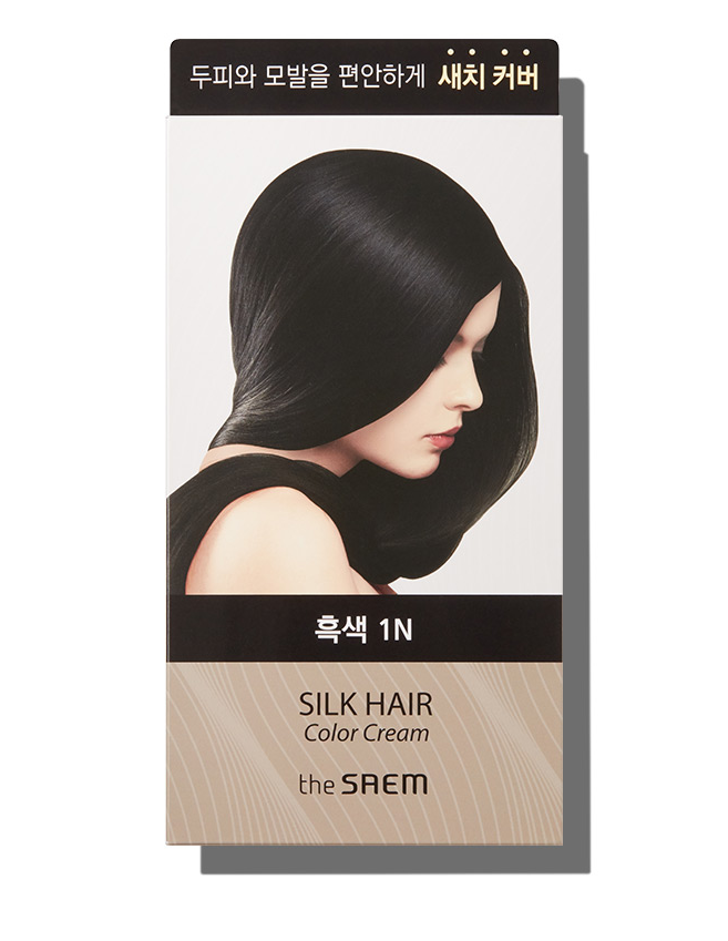 Крем-фарба для волосся The Saem Silk Hair Color Cream Gray Hair Cover Black 60 мл + 60 мл (8806164149881)