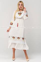 Летнее красивое женское платье из хлопка,цвет белый.