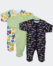 Человечки для мальчика Dunnes набор 3шт, Newborn (50-56см)