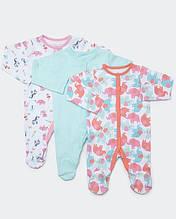 Человечки для девочки Dunnes набор 3шт, Newborn (50-56см)