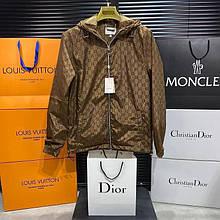 Чоловіча куртка вітровка Gucci CK2525 коричнева