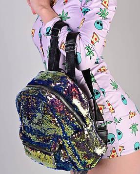 Женский рюкзак с пайетками бронзовый код 7-5068