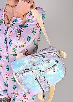 Женский рюкзак с пайетками голубой код 7-5068