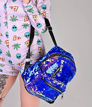 Жіночий рюкзак з паєтками фіолетовий код 7-5068