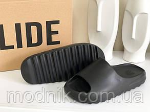 Чоловічі плескачі Adidas Yeezy SLIDES (чорні) B10455 стильні легкі тапочки