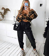 Женские модные брюки-джоггеры из эко-кожи, фото 1