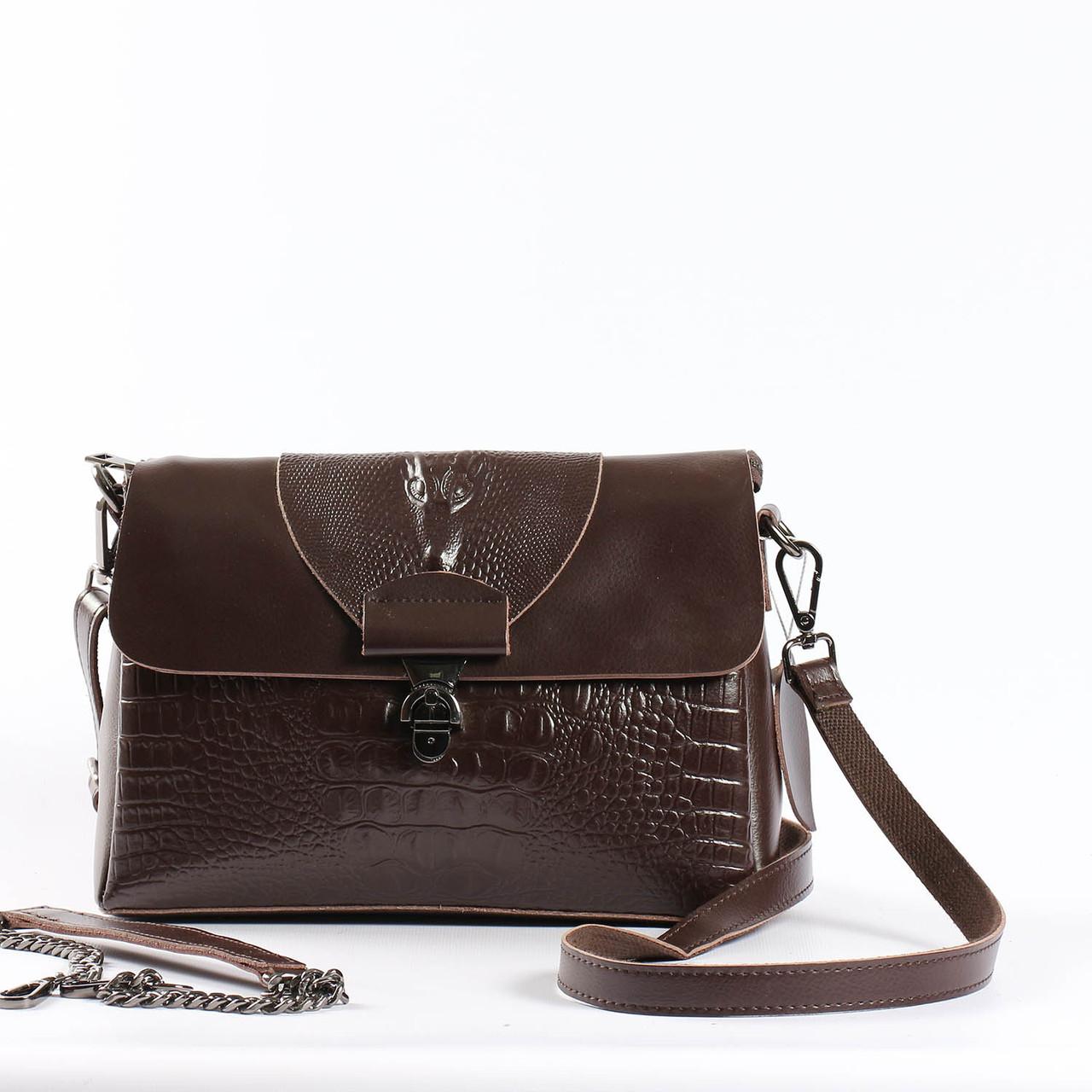 """Женская сумка кожаная с тиснением аллигатора коричневая """"Мелитта Brown"""""""