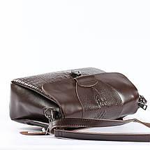 """Женская сумка кожаная с тиснением аллигатора коричневая """"Мелитта Brown"""", фото 2"""