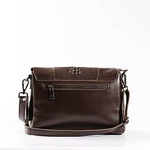 """Женская сумка кожаная с тиснением аллигатора коричневая """"Мелитта Brown"""", фото 3"""