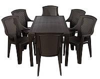 Комплект пластиковой садовой мебели стол Joker+6 кресел Eden коричневый. Искусственный ротанг