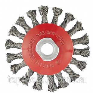 """Щітка """"тарілка"""" для КШМ 115 мм, М14, кручений дріт 0.5 мм,  MTX"""