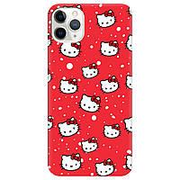 Чехол для Apple iPhone 11 Pro ярко-красный матовый soft touch Hello Kitty