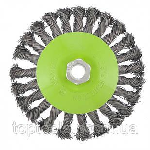 """Щітка """"тарілка"""" для КШМ 125 мм, М14, кручений металевий дріт,  СИБРТЕХ"""