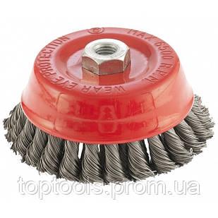 """Щітка для КШМ, 125 мм, М14, """"чашка"""", дворядна, кручений дріт 0,5 мм ,  MTX"""