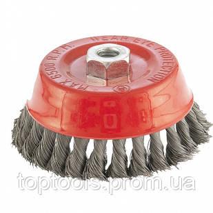 """Щітка """"чашка"""" для КШМ 125 мм, М14, кручений металевий дріт 0.35 мм,  MTX"""