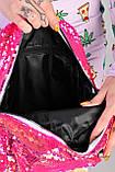 Жіночий рюкзак з паєтками блакитний код 7-5068, фото 3