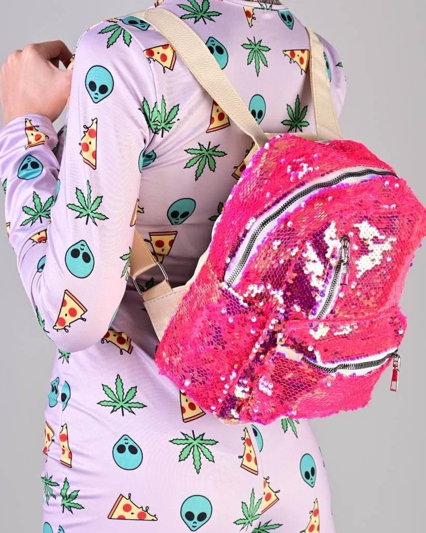 Женский рюкзак с пайетками малиновый код 7-5068