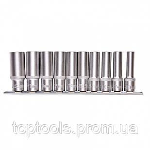 Набор удлиненных торцевых головок 1/2, шестигранні, CrV, 10 шт, 10-22 мм Stels